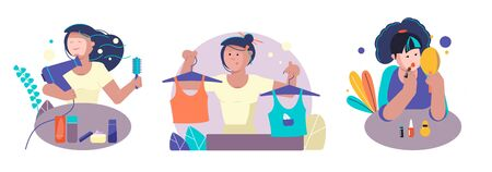 The girl dries her hair with a hairdryer. The girl does makeup. A woman picks up two kinds of clothes. Personal care. Home leisure. Cosmetic Accessories. Set of vector image. 일러스트