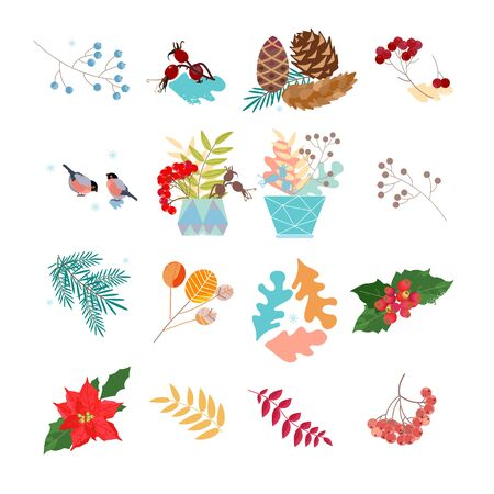 Dried branches and grass. Winter decoration for postcards, posters and stickers. Illustration of the fleet. Pastel shades. Christmas wreath. New Year. Winter bouquet. The bird is pecking berries.