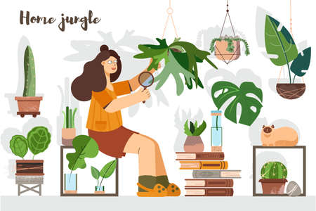 Young woman taking care of home plants. Botany. Flower care. Greenhouse, garden.