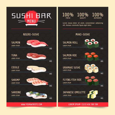 Sushi menu, sushi bar. Japanese cuisine or Asian restaurant. Restaurant cafe menu, template design. Vector illustration of soy sauce, salmon fish sushi roll or tuna