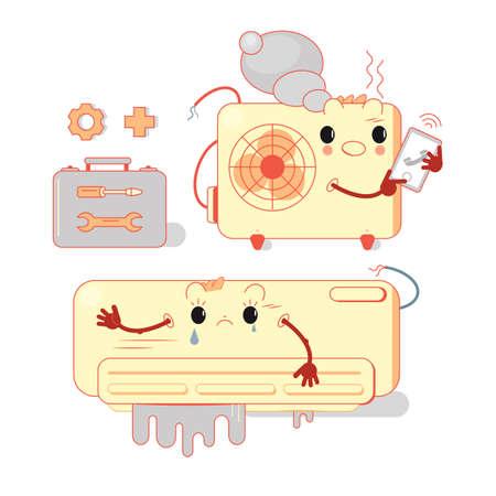 Broken conditioner. Built-in split system. Vector illustration in flat style. Installation or repair of air conditioner Stock Illustratie