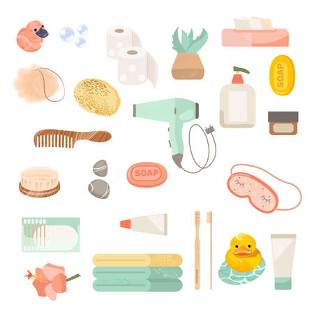 Set of bathroom equipments illustration. Vector icons of human body hygiene equipment for bathroom interior design