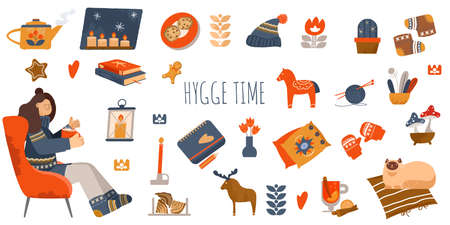 Interior elements. Hygge concept design. Christmas greeting stickers. Nordic, Scandinavian things. Stay home
