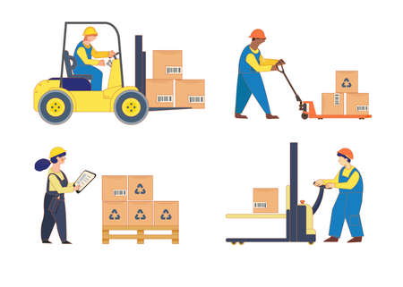 Container ship and warehouse workers. Loading, stacking goods with electric hand lifters and forklift truck