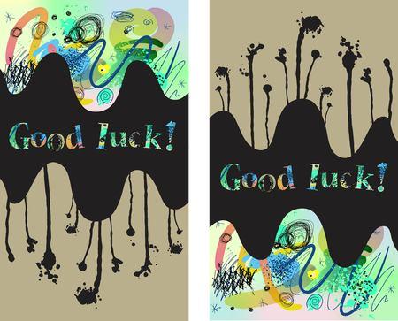 neko: The inscription good luck on the artistic background Illustration