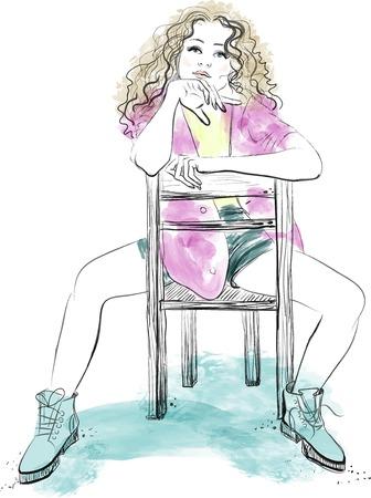 Belleza moda joven mujer con el pelo largo sentarse en la silla Ilustración de vector