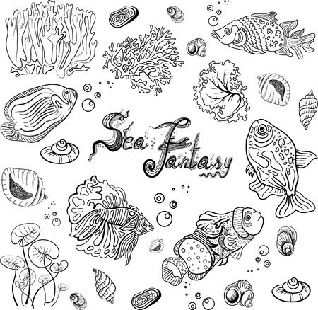 deep sea: Sea collection with shells starfish seaweed deep sea fish