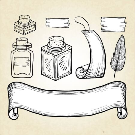 glass containers: A set of glass containers and vintage labels. Hand drawing. Vector. Illustration