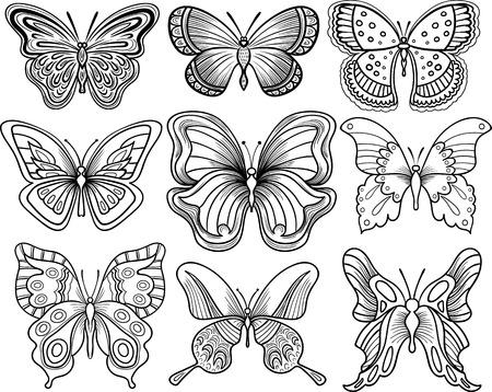 Disegno a mano farfalla vettore clipart contorno nero Vettoriali