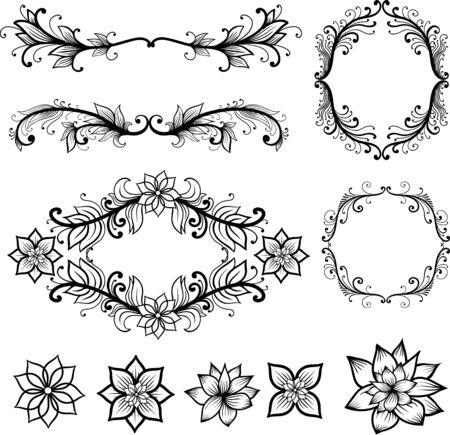ornamental elements: Vintage frames vector. Hand drawing ornamental elements