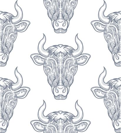 ox eye: Seamless pattern with bull. Cow with decorative pattern ellement. Vector clipart.