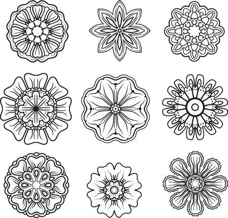 escarapelas: Set of ornamental elements. Decorative rosettes. Floral pattern, vintage style