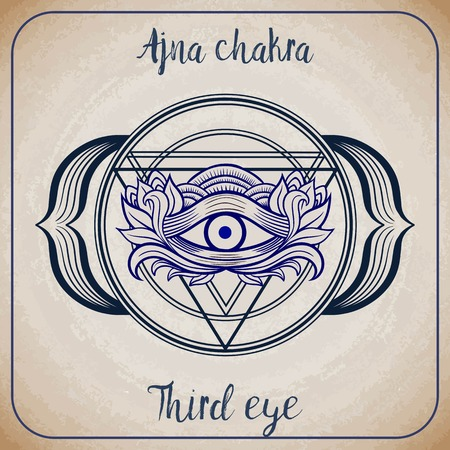 new world order: All seeing eye inside triangle pyramid. New World Order. Ajna chacra. Hand-drawn alchemy, religion, spirituality, occultism. Isolated vector illustration. Conspiracy theory. Masonic symbol.