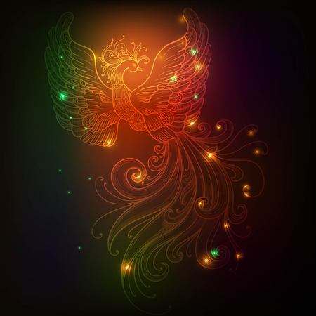 Firebird with stars vector clipart Glow neon colors