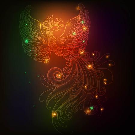 Firebird con estrellas de vectores clipart colores de neón del resplandor Foto de archivo - 57548943
