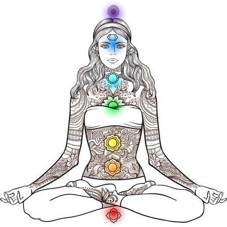 Frau sitzt im Yoga-Lotus-Pose mit Tattoo mehndi ornamentale Muster. Meditation, Aura und Chakren. Vektor-Illustration.