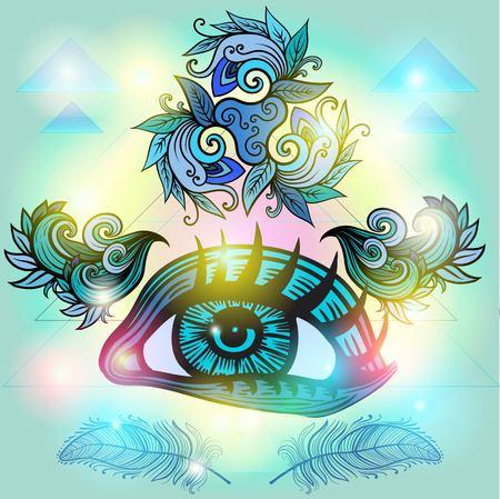ベクトル刻まれたスタイルで人間の目。 神秘的な難解な神聖なシンボル 写真素材 - 57549000