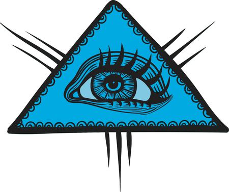 Vector human eye in engraved style. Mystic esoteric sacred symbol