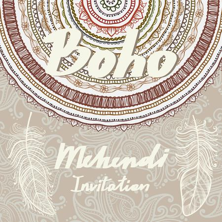 Template invitation. Mehendi and Boho Style Elements. Vector background clip art Vectores