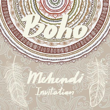 Template invitation. Mehendi and Boho Style Elements. Vector background clip art 矢量图像
