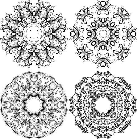 escarapelas: Conjunto de elementos ornamentales. rosetones decorativos. estampado de flores, estilo de la vendimia