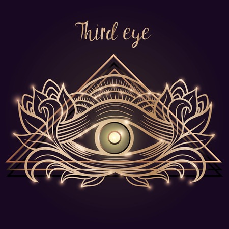 ベクトル刻まれたスタイルで人間の目。神秘的な難解な神聖なシンボル  イラスト・ベクター素材