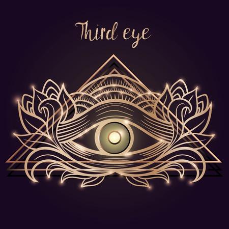 human eye: Vector human eye in engraved style. Mystic esoteric sacred symbol