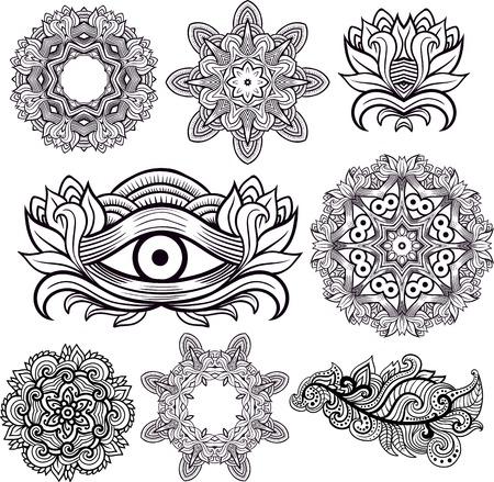Tercer ojo con mandalas y el elemento floral estilo decorativo Conjunto de Mehendi