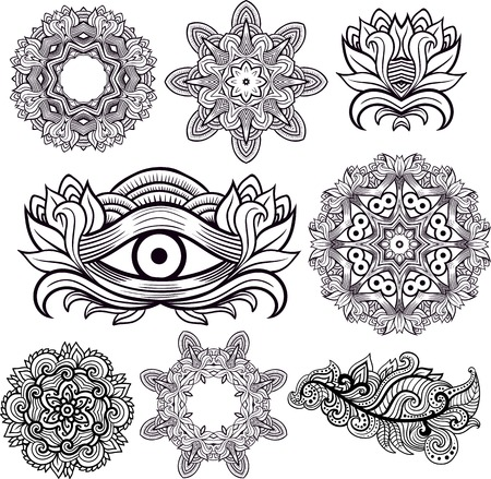 third eye: Third eye with mandalas and decorative floral element Set Mehendi style