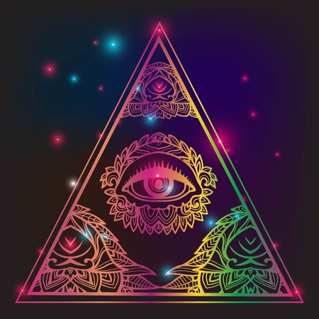 Eye of Providence. Masonic symbol. All seeing eye inside triangle pyramid. Glow neon colors. New World Order. Hand-drawn alchemy, religion, spirituality, occultism. Isolated vector illustration.