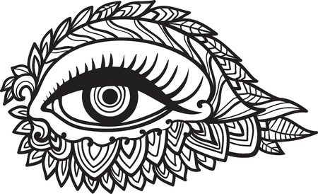 tantra: Vector human eye in engraved style. Mystic esoteric sacred symbol coloring