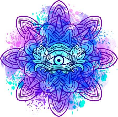 Trzecie oko ze stylem rysowania Mandala stronie. Najlepszy dla dorosłych kolorowanka relaksu i medytacji Ilustracje wektorowe