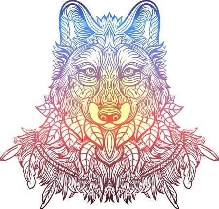 Stilisierte Wolf Kopf Auf Weißem Hintergrund Isoliert Bild Für