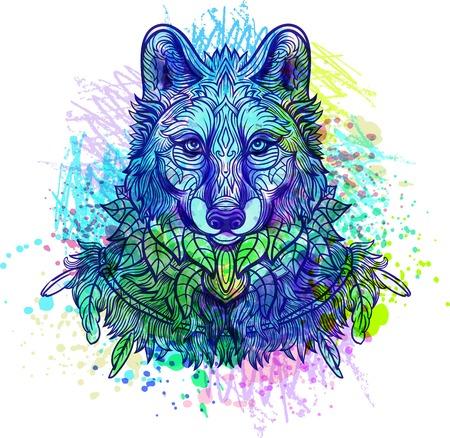 Wolf. Handgetekende wolf zijaanzicht met etnische bloemen doodle patroon. Kleurplaat - zendala, ontwerp voor tattoo, t-shirt drukken