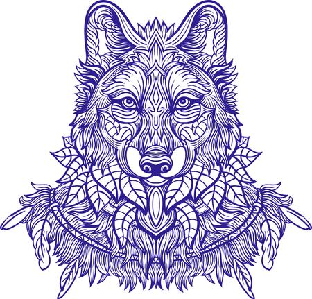 third eye: Wolf. Hand-drawn wolf side view with ethnic floral doodle pattern. Coloring page - zendala, design for tattoo, t-shirt print