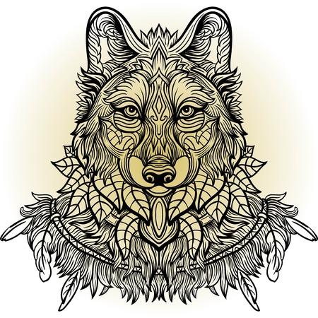 Loup. loup vue de côté de la main-dessinée avec motif floral ethnique doodle. Coloriage - zendala, conception pour le tatouage, t-shirt imprimé