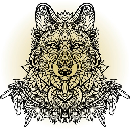 predators: Wolf. Hand-drawn wolf side view with ethnic floral doodle pattern. Coloring page - zendala, design for tattoo, t-shirt print