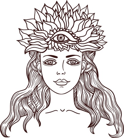 Girl with third eye. Occult illustration. Beautiful girl with third eye Illustrationl for the tattoo and stickers, banners. Illustration