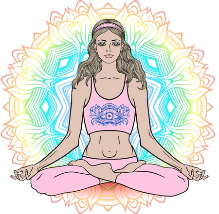 third eye: Young girl in yoga pose lotus. Meditation relax pose Mandala zentangle background. Third eye symbol on t-shirt. Vector