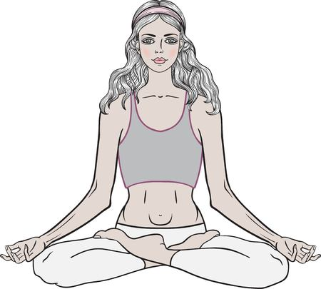 yoga meditation: Young girl in yoga pose lotus. Meditation relax pose Vector Illustration