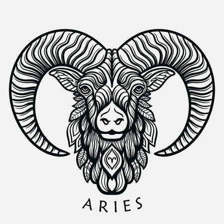 Hand drawn romantic beautiful line art of zodiac aries. Vector illustration isolated. Ethnic design, mystic horoscope symbol for your use. Ideal for tattoo art, coloring books. Zentangle style. Stok Fotoğraf - 58047141