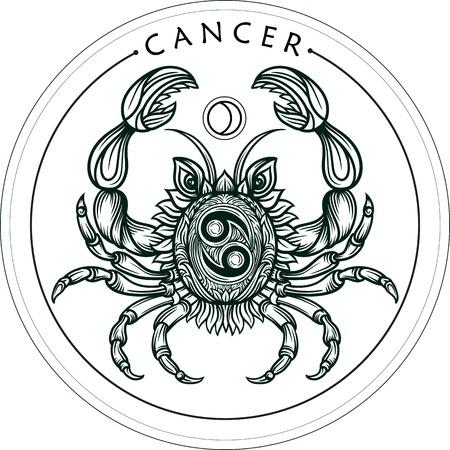 Hand drawn belle art romantique ligne du cancer du zodiaque. Vector illustration isolé. conception ethnique, symbole de horoscope mystique pour votre usage. Idéal pour l'art du tatouage, livres à colorier. le style Zentangle.