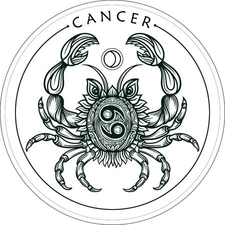 Hand drawn romantic beautiful line art of zodiac cancer. Vector illustration isolated. Ethnic design, mystic horoscope symbol for your use. Ideal for tattoo art, coloring books. Zentangle style.