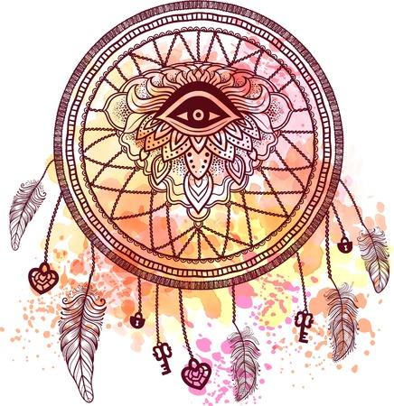 Native American Indian talisman dreamcatcher met oog, veren, sleutel, sluis en het hart. Etnische, boho chic, tribale symbool. Voor kleurboek, tattoo. Vector hipster illustratie aquarel