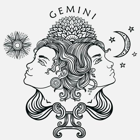 getrokken hand romantische mooie lijn kunst van het sterrenbeeld Tweelingen. Vector illustratie geïsoleerd. Etnisch ontwerp, mysticus horoscoop symbool voor uw gebruik. Ideaal voor tattoo art, kleurboeken. Zentanglestijl. Vector Illustratie