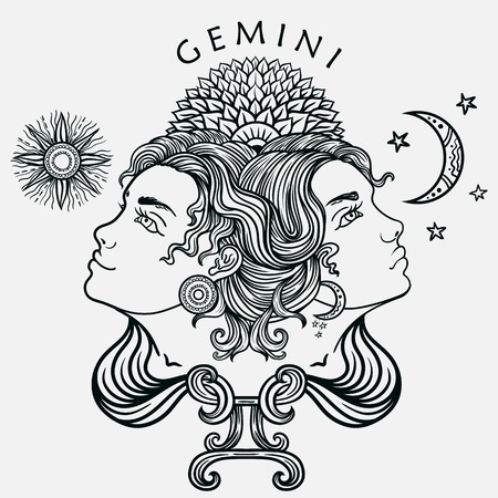 Hand drawn romantic beautiful line art of zodiac gemini. Vector illustration isolated. Ethnic design, mystic horoscope symbol for your use. Ideal for tattoo art, coloring books. Zentangle style.