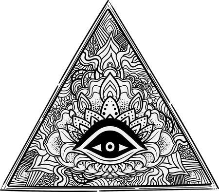 Ojo de la Providencia. símbolo masónico. Todo el ojo que ve el interior de la pirámide triangular. alquimia dibujado a mano, la espiritualidad, el ocultismo. vector aislado. tatuaje del cuerpo del modelo del arte Ellements Mehendi. Foto de archivo - 58047154