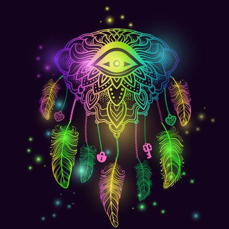 Native American Indian talisman dreamcatcher met oog, veren, sleutel, sluis en het hart. Etnische, boho chic, tribale symbool. Voor kleurboek, tattoo, mehendi Vector hipster illustratie neon gloed. Stock Illustratie