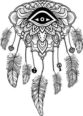 american indian aztec: Native American Indian talisman dreamcatcher with eye, feathers, key,lock and heart. Ethnic,boho chic, tribal symbol. For Coloring book, tattoo, mehendi. Vector hipster illustration isolated on white.