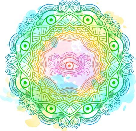 Mandala watercolor mehendi with the eye of providence inside. Isolated Vector illustration. Invitation element. Tattoo, astrology, alchemy, boho and magic symbol. Vectores